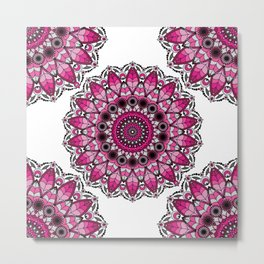 Pink and gray mandala Metal Print