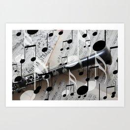 music notes white black clarinet Art Print