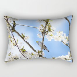 Bird in the Cherry Blossoms Rectangular Pillow