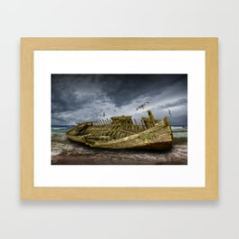 Boat Shipwreck on the Beach Shore Framed Art Print