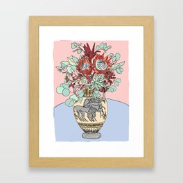 Greek Urn with Horses and Protea Bouquet Framed Art Print