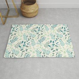 Leaves Teal Green Pattern Rug