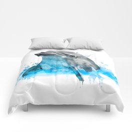 Dolphin Watercolor, Dolphin Painting, Dolphin Gift, Dolphin Poster, Dolphin Print, Dolphin Aquarelle Comforters