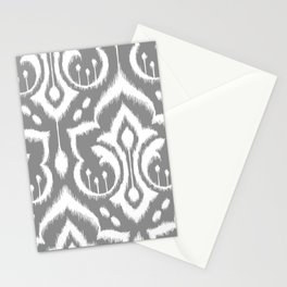 Ikat Damask Gray Stationery Cards