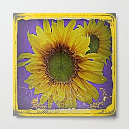Grungy Lilac Purple Antique style Sunflower Metal Print