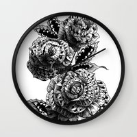 roses Wall Clocks featuring Four Roses by BIOWORKZ