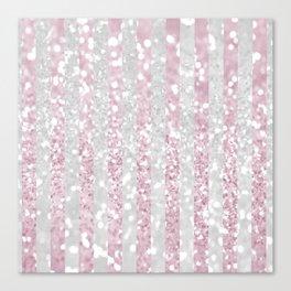 Elegant pink white faux glitter stripes pattern  Canvas Print
