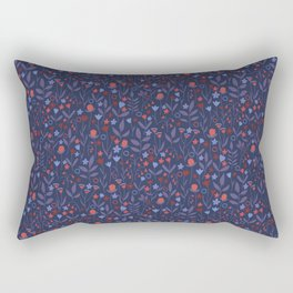 Intricate Dark Moody Floral Pattern Rectangular Pillow
