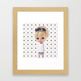 NAVY BLYTHE DOLL MEGAN BY ERREGIRO Framed Art Print
