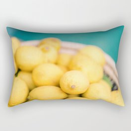Yellow lemons next to a turquoise pool. | Colorful food photography, tropical feel. Rectangular Pillow