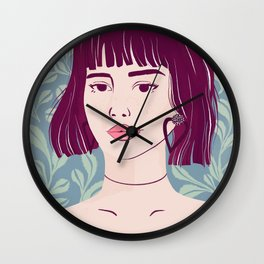 Purple Bob Messy Hair - Botanical Texture - Kissable Lips - Bare Shoulders Wall Clock