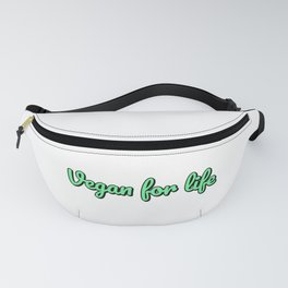 Vegan for life - Green calligraphic text Fanny Pack