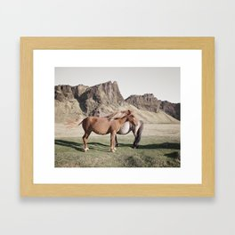 Rustic Horse Photograph in Mountains Framed Art Print