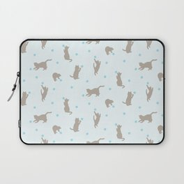 Polka Dot Cats in Blue Laptop Sleeve