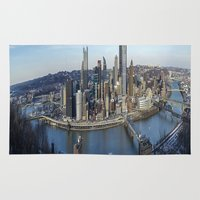 pittsburgh Area & Throw Rugs featuring PITTSBURGH CITY by Stephanie Bosworth