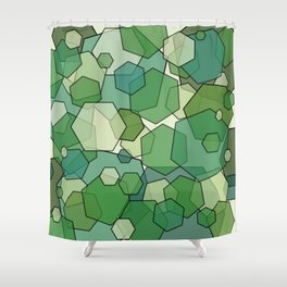 Converging Hexes - Green and Yellow Shower Curtain