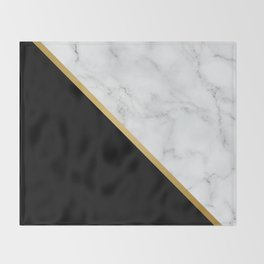 Marble, Black, White, Gold, Abstract Color Block Throw Blanket
