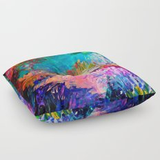 WELCOME TO UTOPIA Bold Rainbow Multicolor Abstract Painting Forest Nature Whimsical Fantasy Fine Art Floor Pillow