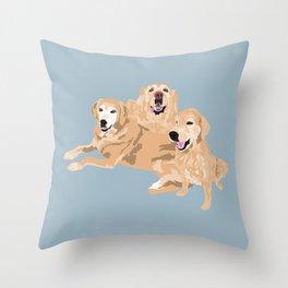 3 Golden Retrievers Throw Pillow