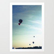 Floating Along - Hot Air Balloons  Art Print