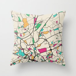 Colorful City Maps: Ghent, Belgium Throw Pillow