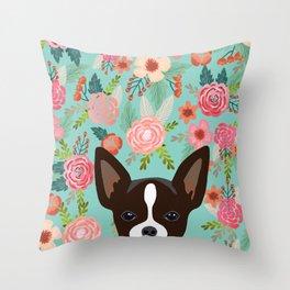 Chihuahua Florals - cute dog portrait, chihuahua lover, chihuahua  dog, cute Throw Pillow