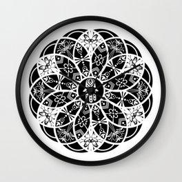 Hamsa eye lotus manda Wall Clock