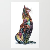tatoo Art Prints featuring Tatoo cat by Annie Liu