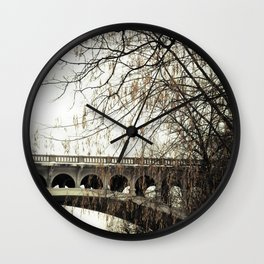 Vintage Retro Rustic Bridge with Framing Tree Desaturated Colored Wall Art Lustre Print OR Framed Pr Wall Clock