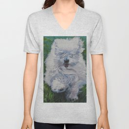 The Coton de Tuléar dog art from an original painting by L.A.Shepard Unisex V-Neck