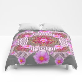 Grey Abstract Pink Roses Floral Pattern Comforters
