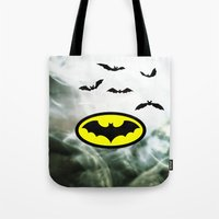 bat man Tote Bags featuring Bat man  by haroulita