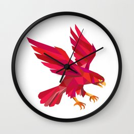 Peregrine Falcon Swooping Low Polygon Wall Clock