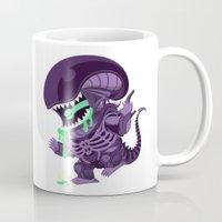 xenomorph Mugs featuring Cute Xenomorph by nocturnallygeekyme