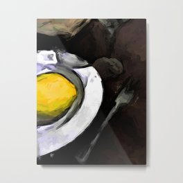 Lemon of Yellow in a White Bowl with Shadows 1 Metal Print