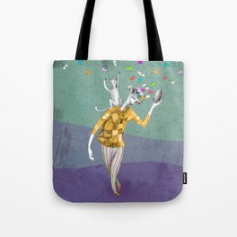 the imaginative robot clown and his cat friend Tote Bag