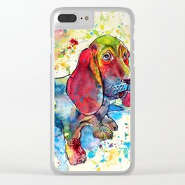 Cute basset hound Clear iPhone Case