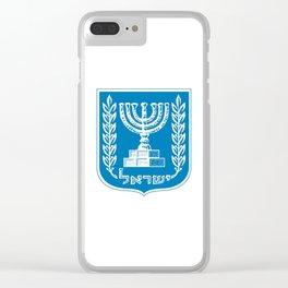 emblem of Israel 1-יִשְׂרָאֵל ,israeli,Herzl,Jerusalem,Hebrew,Judaism,jew,David,Salomon. Clear iPhone Case