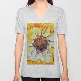 Yellow Textured Flower Unisex V-Neck