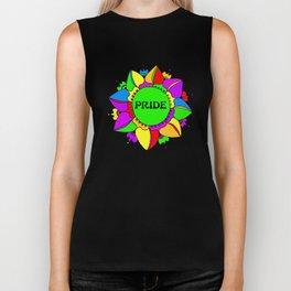 Rainbow Pride Mandala - Black Background Biker Tank