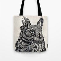 owl Tote Bags featuring Owl by Feline Zegers