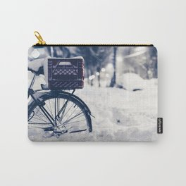 Milk Crate on Bike in Snow Carry-All Pouch