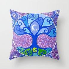 Moon-Tree Mandala Throw Pillow