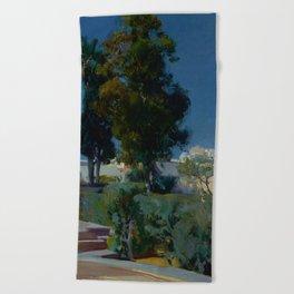 Joaquín Sorolla y Bastida (Spanish, 1863 - 1923) Corner of the Garden, Alcazar, Sevilla, 1910, Oil Beach Towel