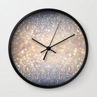 grey Wall Clocks featuring Glimmer of Light (Ombré Glitter Abstract) by soaring anchor designs