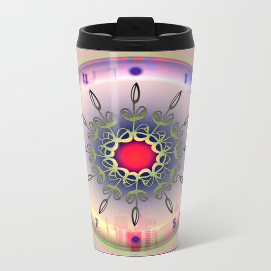 Spring Time - Floral Clock Metal Travel Mug