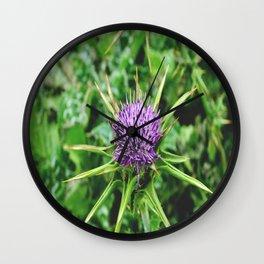 Purple Wild Flower Wall Clock