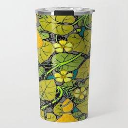 Green Art Nouveau Vines Gourds Floral Teal Art Travel Mug