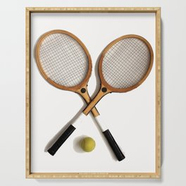 vintage Tennis rackets and ball Serving Tray