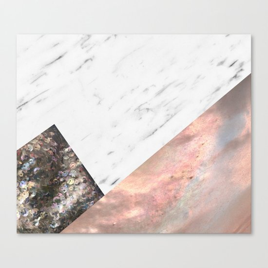 Marble with sequins and mother of pearl Canvas Print
